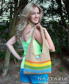 Easy Crochet Striped Handbag Tote Purse - Bag by Donna Wolfe from Naztazia
