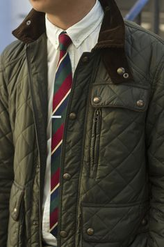 Olive Green Quilted Hunting Jacket and Rep Tie. Men's Fall Winter Fashion.