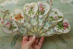 Antique fabulous paper fan 1910 embossed flowers ribbon A gift of love ephemera valentines day momento Victorian