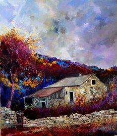 """Saatchi Online Artist: Pol Ledent; Oil, 2012, Painting """"Old houses """""""