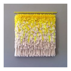 Woven wall hanging / Furry Melting Lemon Ice Cream // Handwoven Tapestry  Weaving Fiber Art Textile Art Woven Home Decor Jujujust