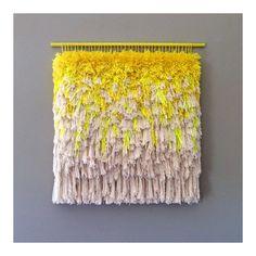 Woven wall hanging / Furry Melting Lemon Ice Cream // Handwoven Tapestry  Weaving Fiber Art Textile Art Woven Home Decor Jujujust