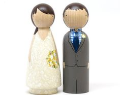 EXPRESS SHIPPING Custom Cake Toppers Wedding with bouquet by Goose Grease - Hand Painted Wooden Dolls