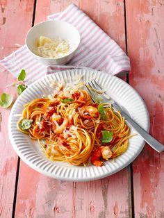 Schnelle Spaghetti mit Knoblauch, Olivenöl und Garnelen