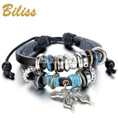 Charm Bangle Vintage Multilayer Butterfly Wood Bead Leather