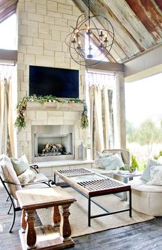 6 Appealing Tips: Old Fireplace Awesome fireplace garden backyard landscaping.Fireplace And Tv Separate colored shiplap fireplace.Grey Fireplace With Tv. Outdoor Fireplace, Sunroom Decorating, Home, Installing A Fireplace, White Brick, House Styles, Fireplace Design, Rustic Farmhouse Fireplace, Farmhouse Interior