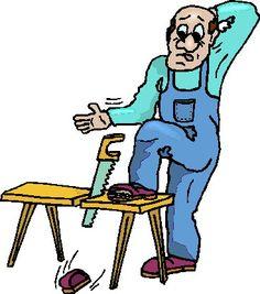 Carpintero que ha cortado su pie con el serrucho, por accidente. Clip art.