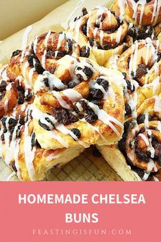 Homemade Chelsea Buns recipe is a revelation. Stuffed full of dried fruit and spices and baked in an enriched dough these are perfect any time of the day. Chelsea Bun Recipe, Bread Cake, Buns, Breads, Spices, Homemade, Cakes, Baking, Fruit
