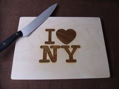 Cutting Board Custom Engraved I Love NY or I heart by MossyHoller,