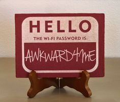 Name Tag Hello My Name is WiFi Password display by ScissorMill, $20.00
