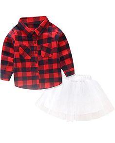96132aff9 Toddler Little Girls Dress Outfit, Long Sleeves Plaid Flannel Dress Shirt  Tops + Tutu Skirt