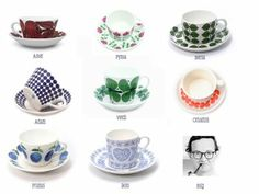 Fabulous tea cups by Swedish designer Stig Lindberg. He designed for the Swedish Gustavsbergs Porcelain Factory.