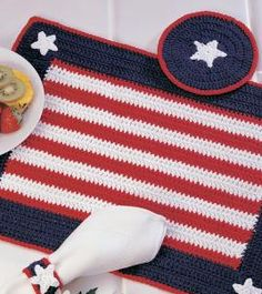 Small American Flag Crochet Pattern : 1000+ images about Crochet ? Placemats on Pinterest ...