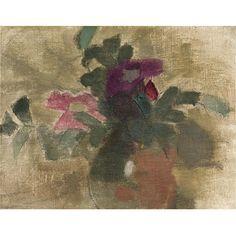 Helene Schjerfbeck, Rosor; Zigenarkvinna / Ruusuja; Mustalaisnainen (Roses (recto); Gypsy Woman (verso))