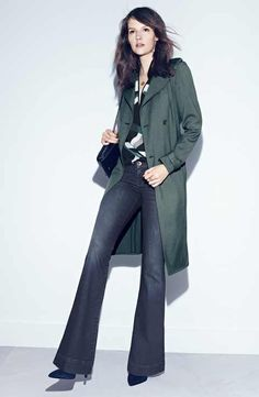 Trouvé Belted Trench, Zip Neck Top & J Brand Flare Jeans