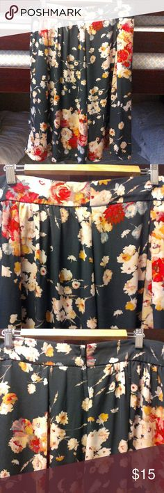 GREY FLORAL HIGH  WAISTED SKIRT GREY WITH COLOR FLOWERS IS USE BUT GREAT CONDITION IS POLYESTER  {{25' LENGTH AND 32' WAIST}} ZIPPER ON THE SIDE Skirts Midi