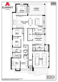 Alkina - 9 Rue Place, Treeby - Summit Homes Bedroom House Plans, Dream House Plans, House Floor Plans, Summit Homes, Garage Entry, Activity Room, Home Design Floor Plans, Display Homes, New Home Designs