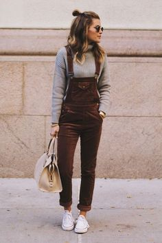 Overalls with a sweater crop top. The School's Out Brown Corduroy Overalls have us jumping for joy! These classic corduroy overalls come with adjustable shoulder straps with antiqued gold hardware that attach to the pocketed bib. High waistline with belt loops, and front and back patch pockets flow into cute skinny pant legs. As Seen On Lindsay of @lindsaymarcella!