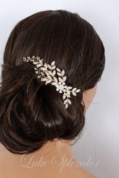 Rose gold Bridal Comb Wedding Hair comb Crystal by LuluSplendor