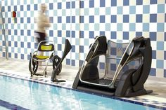 The Poolpod pool lift system - image shows the pool platform lift, the poolside controls and the sleek poolpod wheelchair. NCAquatics is an official distributor in Canada of Poolpod Lift System for swimmers with mobility challenges. www.ncaquatics.com
