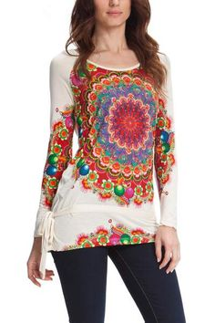 Desigual women's Kaley T-shirt. Long sleeved, boat neck T-shirt with a kaleidoscopic mega-print which spreads onto the sleeves.