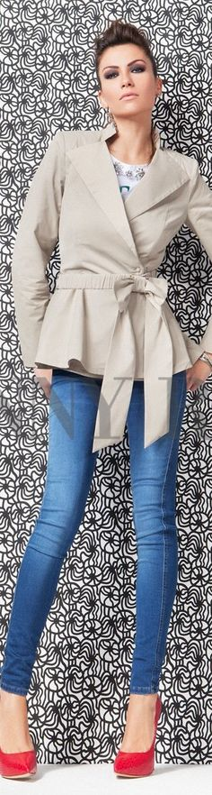 This jacket is super cute, it would look great on you bc it hugs at the waist line.