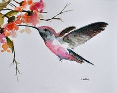ORIGINAL Watercolor Bird Painting Goldfinch On A by ArtCornerShop