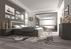 Chambre adulte complète couleur chêne noir contemporaine DARCIA