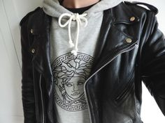 Greek Goddess Stamped Hoodie, layered Leather Jacket. Love the collar pattern