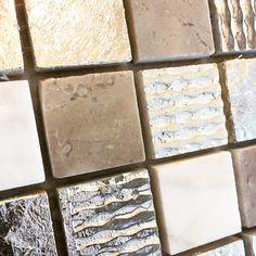 The metallic foil on this mosaic looks awesome!💥  #tilestudio925 #fredricksburgtx #cordillera #SATX #houston #circle #instagood #blacktiles #comforttexas  #instaluxury #bathroom  #chicago #newyorkcity #helotes #cali #boernetexas #boerne #sanantonio #diy #interiordesign #architects #architecture #marble #design #tiles #marbletile #designers #designer  #flooring  #walltiles ☎️830-368-4204 Boerne Texas, Tiles For Sale, Wall Tiles, Cali, Architects, Houston, Mosaic, Marble, Chicago
