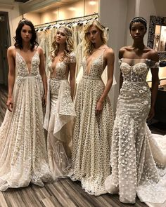 Designer Berta Balilti incorporated vintage-inspired beading, ethereal capes and feathers into her glam-filled Spring 2018 bridal collection. This season saw Berta's sexiest Dream Wedding Dresses, Bridal Dresses, Wedding Gowns, Bridesmaid Dresses, Bridesmaids, Pretty Dresses, Beautiful Dresses, Beautiful Gorgeous, Couture Dresses