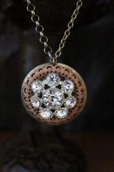 Rhinestone Earring Necklace by BelleVia on Etsy, $38.00