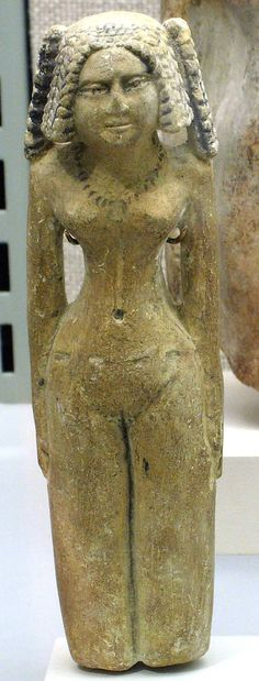 Female figure Period: Middle Kingdom–Early New Kingdom Dynasty: Dynasty 12–18 Date: ca. 1981–1550 B.C. Geography: Country of Origin Egypt Medium: Limestone Dimensions: h. 14.5 cm (5 11//16 in); w. 4.5 cm (1 3/4 in) Credit Line: Theodore M. Davis Collection, Bequest of Theodore M. Davis, 1915 Accession Number: 30.8.198 MMA, New York
