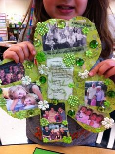 A family craft, Why We're Lucky to be a Family. Include photos, drawings, notes, letters and decorations.