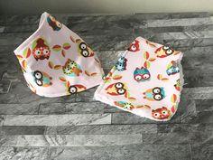 burp cloth set, bandana Bib, burp cloth, owl print, newborn baby girl, dribble bib, owl baby gift, mum to be gift, baby shower gift,