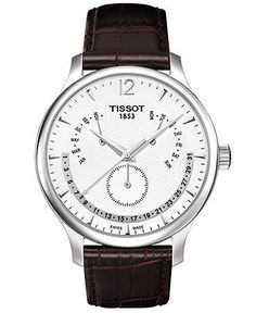 Tissot Watch, Men's Swiss Tradition Perpetual Calendar Brown Leather Strap T0636371603700 - Men's Watches - Jewelry & Watches - Macy's