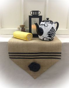 Burlap Table Runner  12 14 & 15 wide  Stripe by CreativePlaces, $15.00