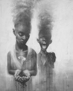 A painting by the artist SIT of two African girls holding a lily and dissipating into smoke