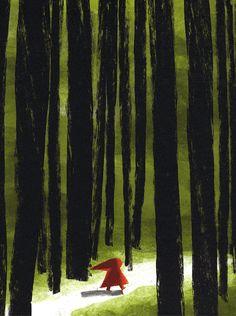"""Christian Roux, """"Little Red Riding Hood"""" Little Red Hood, Little Red Ridding Hood, Red Riding Hood, Charles Perrault, Serpentina, Mary Cassatt, Children's Book Illustration, Fairy Tales, Cool Art"""