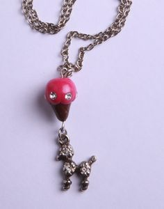 """Polymer Clay """"Cold Dog"""" Necklace by milk+biscuit, $11"""