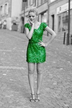 love the way the green dress pops out