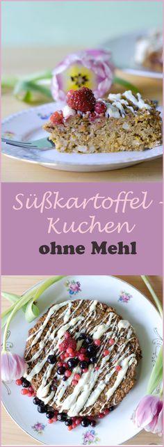Rezept für einen Süßkartoffelkuchen ohne Mehl mit weißer Schokolade. Kuchen ohne Mehl für Paleo oder Low Carb geeignet.