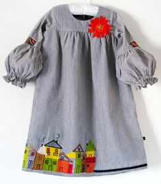 Boutique ROW HOUSE dress size girls 5 7 8-Woven ticking stripe