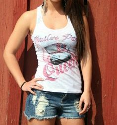 Trailer Park Queen Burnout Racer Back Tank Cowgirl