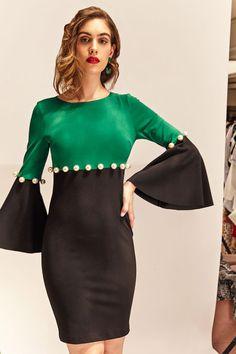 Vestido verde bicolor TERIA YABAR Otoño Invierno 2019 2020 Dresses With Sleeves, Long Sleeve, Fashion, Green Dress, Long Sleeve Dresses, Full Sleeves, Footwear, Fall Winter, Blouses