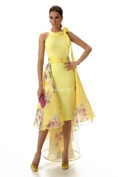 Gorgeous style so very versatile with detachable chiffon skirt. Tea Length Dresses, Short Dresses, Dress Sewing Patterns, Chiffon Skirt, Classy Dress, Yellow Dress, Asian Fashion, Passion For Fashion, Dress To Impress