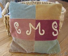 Primitive c 1900 Antique PA Amish Mennonite Patch  Quilt Block PILLOW Signed