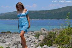 Handmade Ravliki: Mar, céu, nuvens - vestido de praia em um garfo | Workshops needlework