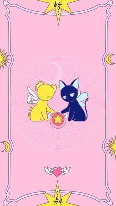 Manga Cosplay Kero and Spinel pink background Cardcaptor Sakura, Kero Sakura, Manga Anime, Anime Art, Kawaii Wallpaper, Iphone Wallpaper, Geeks, Sakura Card Captors, Kawaii Background
