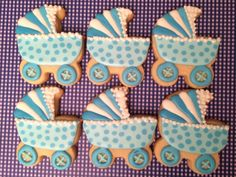 blue and white carriage baby shower cookies